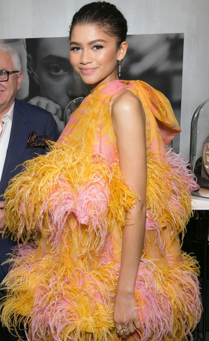 Zendaya's big birdMarc Jacobs Spring 2019 dress atjewelry brand Âme's launch event at the Eric Buterbaugh Gallery in Los Angeles on December 13, 2018