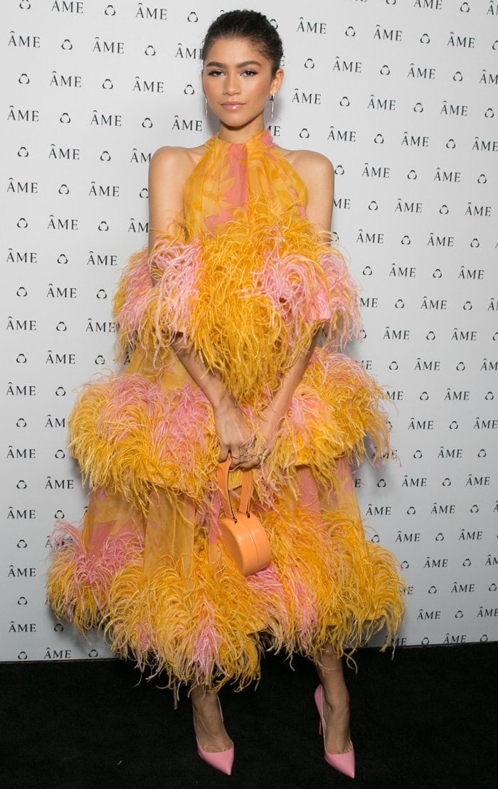 Zendaya in an adorableorange and pink ostrich feather dress with pink pointy-toe pumps from Christian Louboutin