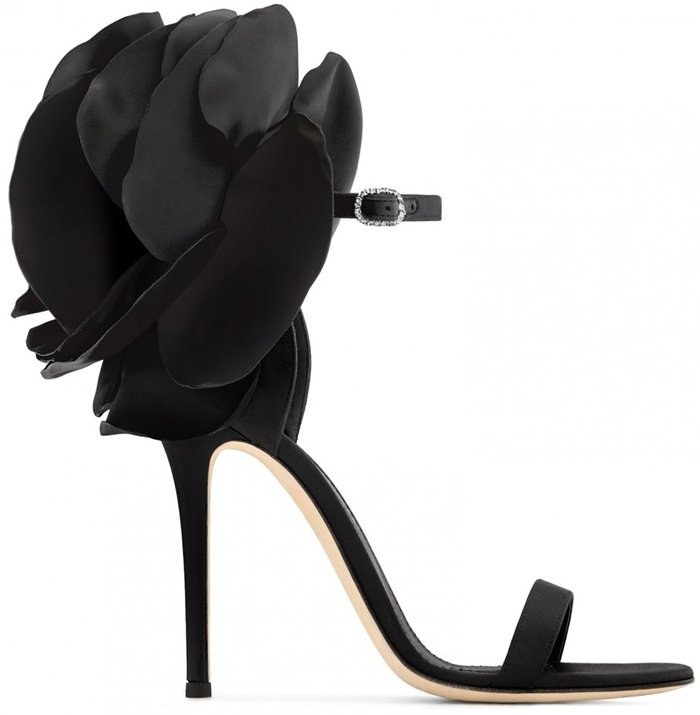 Black Blooming Flower Peony Ankle Strap Sandals