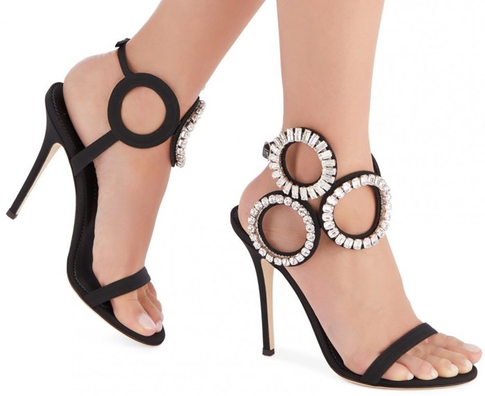 With crystal-encrusted rings, the Kassie sandal is a graphic beauty with style that out-maneuvers the rest