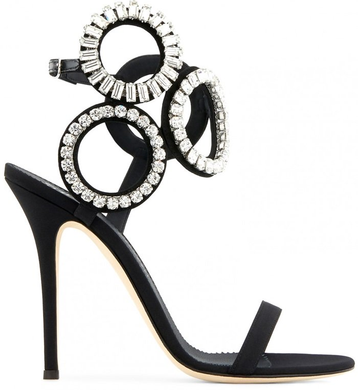 Brilliant crystal-studded circles at the ankle make for a high-wattage shoe