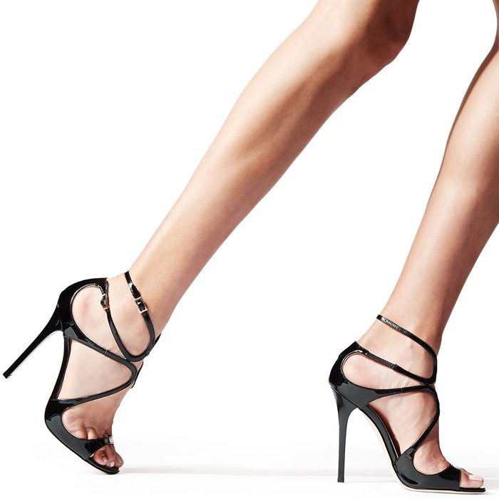From red carpets to dance floors, these strappy sandals in patent black are iconic Jimmy Choo