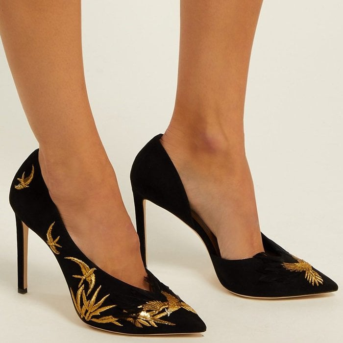 Suede pumps decorated with gold bird embroidery accented with silver threads and black feathers