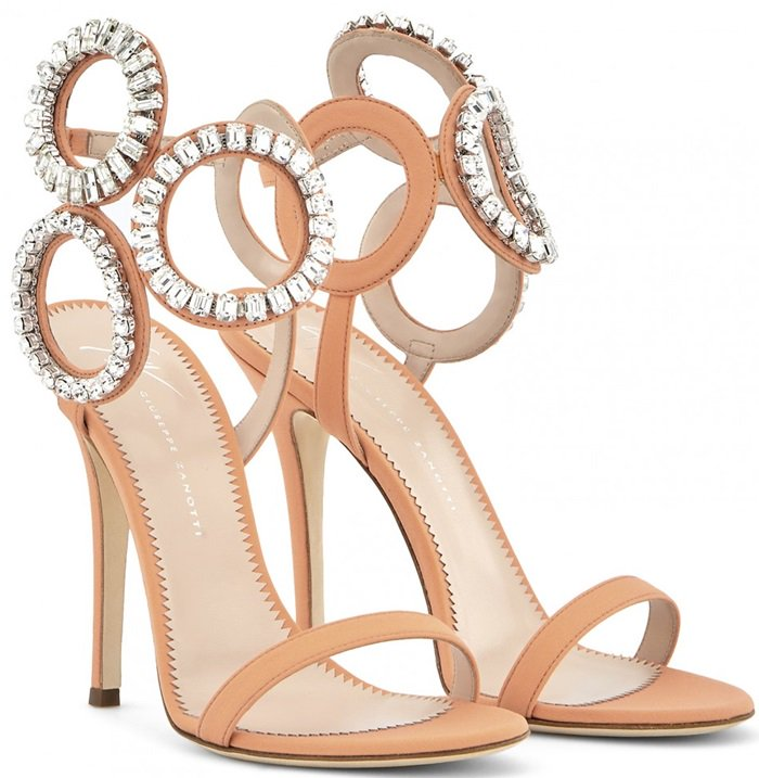 Candy Mythique Fabric Crystal Circle Stiletto Kassie Heels