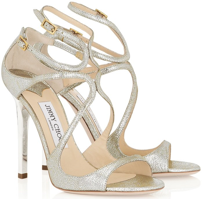 Champagne Glitter Leather Sandals