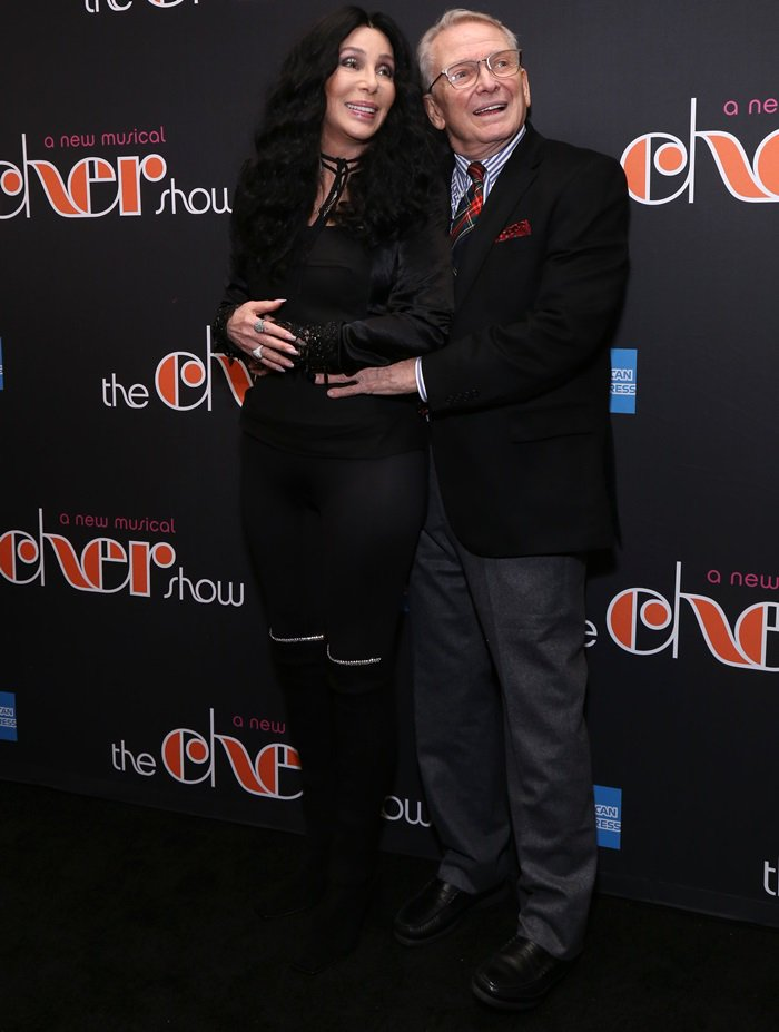 Cher and Bob Mackieat the opening night performance of the new Broadway musical The Cher Show at the Neil Simon Theatre in New York City on December 3, 2018
