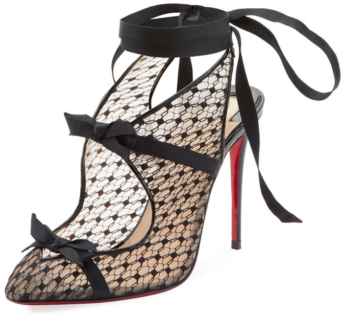 Mounted on a 100mm sharp black patent leather stiletto and cut horizontally with strips of patent leather and bows, the pair is finished with a ribbon that wraps around the ankle like the black choker of a Madame, ensuring that it will be you calling all the shots