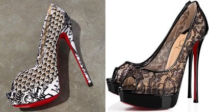 172d81d0efe Fetish Fishnet Lace Red Sole Heels With Graffiti Print by Christian  Louboutin