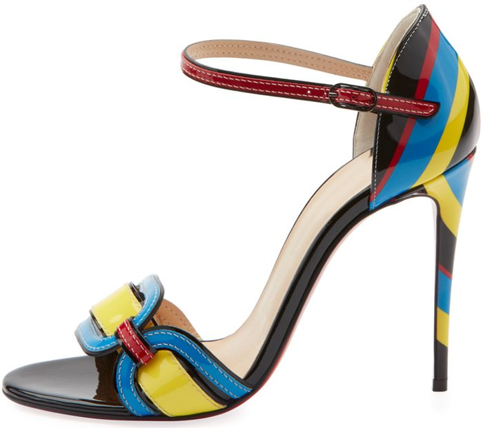 Valparaiso Color-Block Patent Red Sole Sandals