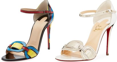 74da77e6be9 Valparaiso Color-Block Patent Red Sole Sandals by Christian Louboutin