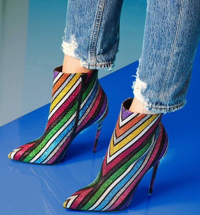 Christian Louboutin bootie in glitter-striped suede