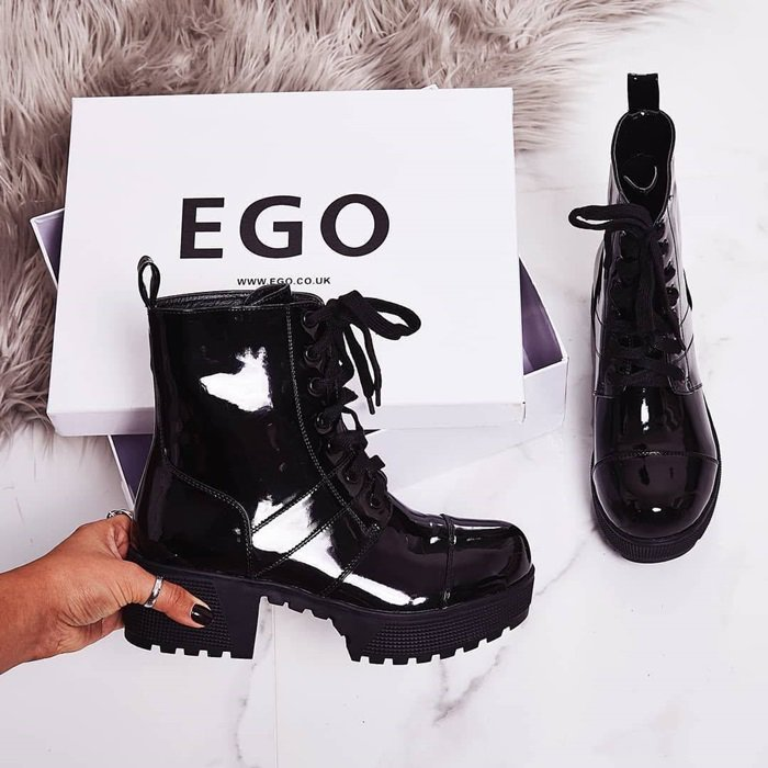 Cooper Chunky Sole Lace-Up Biker Boots