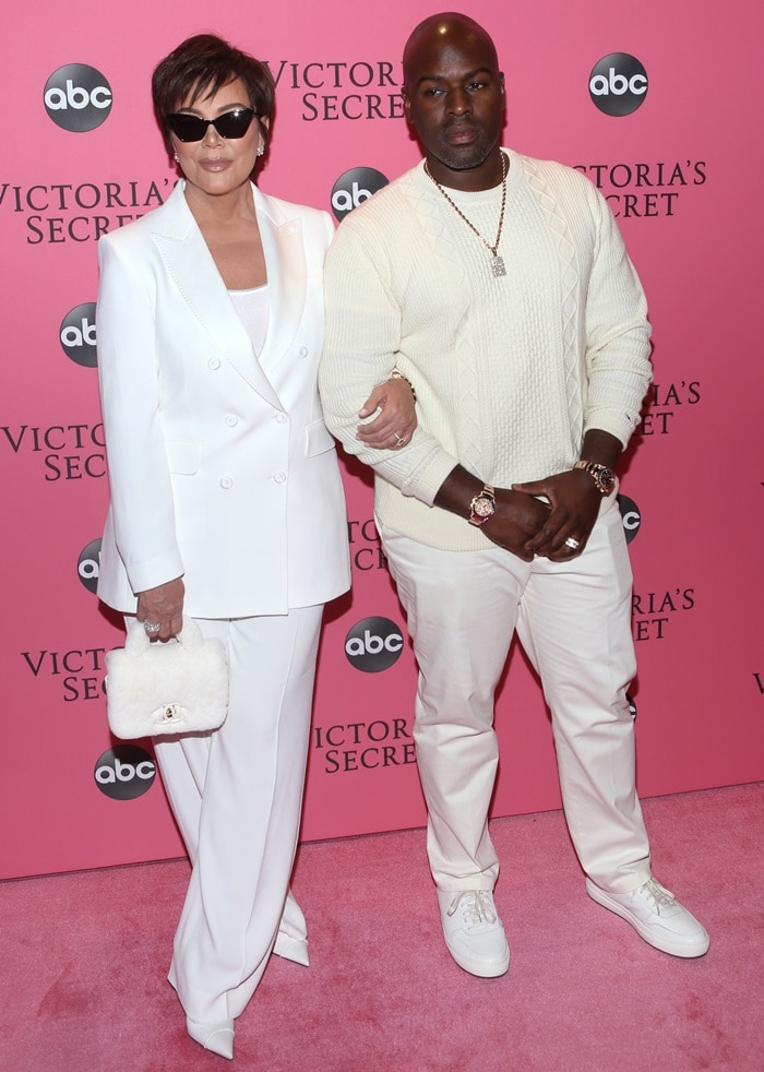 Kris Jenner and Corey Gamble arrive at the Victoria's Secret Fashion Show 2018 held at Pier 94 in New York City on November 8, 2018