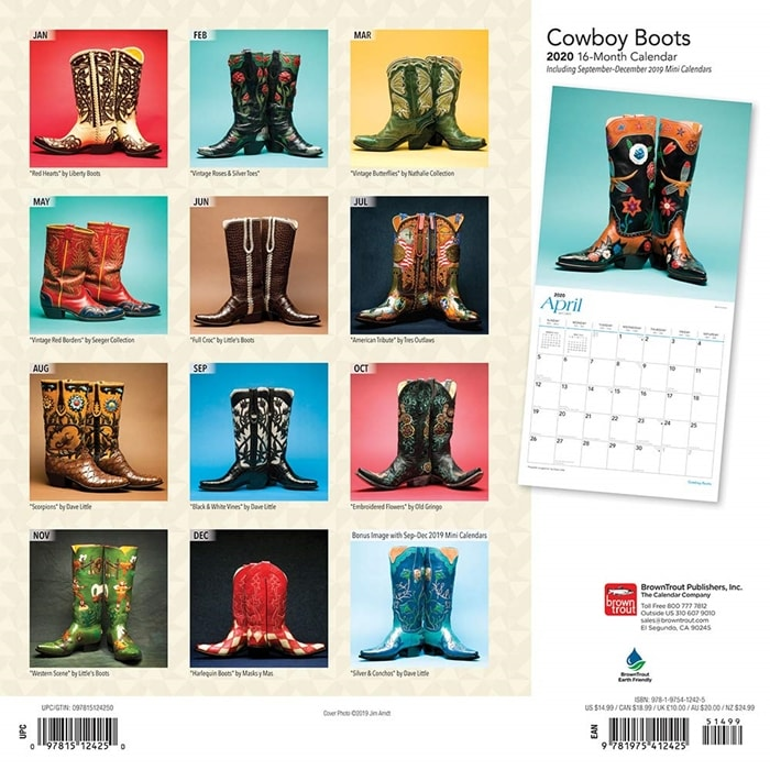 Cowboy Boots Monthly Square Wall Calendar