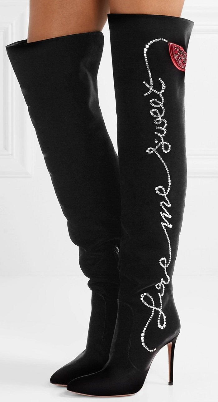 It's hard not to fall for these boots that are emblazoned with love-themed motifs and messages