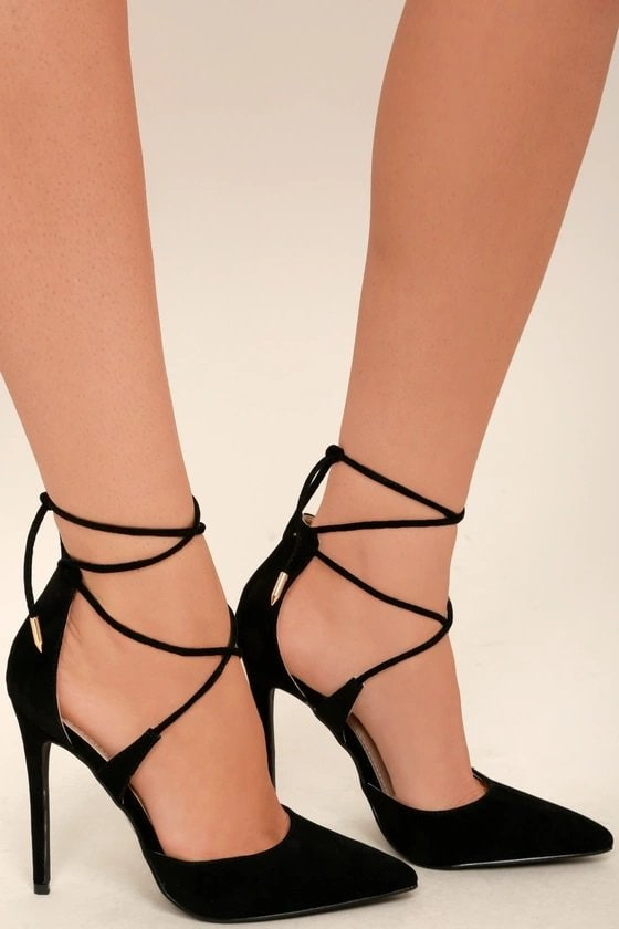 Black Suede Lace-Up Dani Heels
