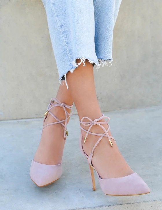Dusty Rose Suede Lace-Up Dani Heels