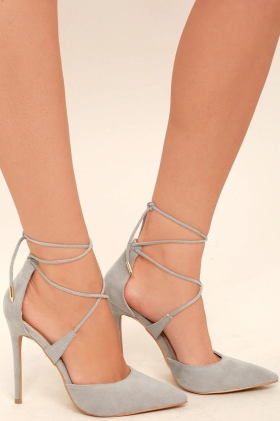 Grey Rose Suede Lace-Up Dani Heels