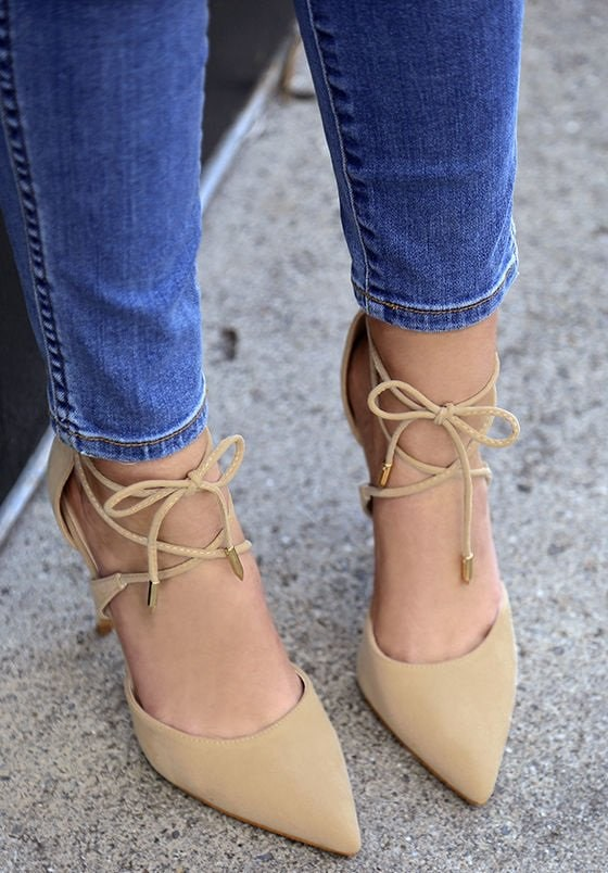 Nude Rose Suede Lace-Up Dani Heels
