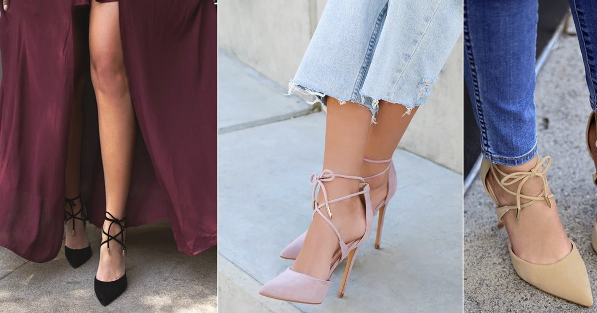 df3ed4afc1b Suede Lace-Up Heels in Grey, Black, Dusty Pink, and Nude