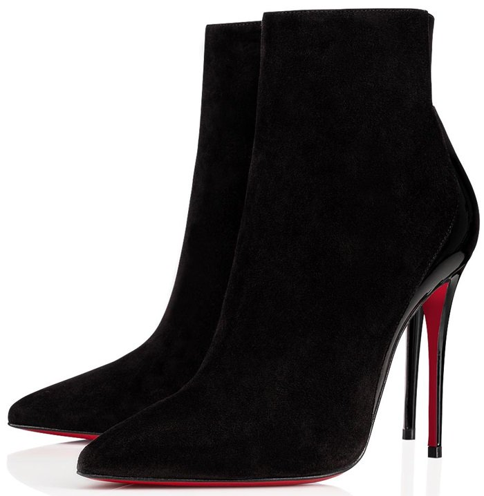 Black Suede and Patent Leather Delicotte Booties