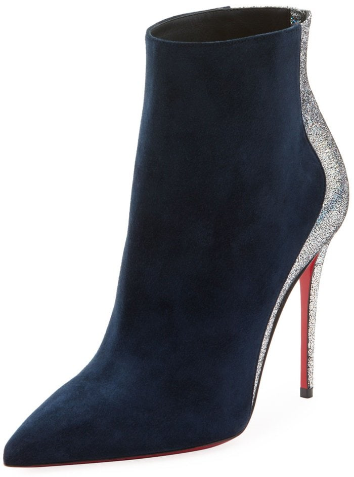 Blue Delicotte Booties With Holographic Metallic Trim