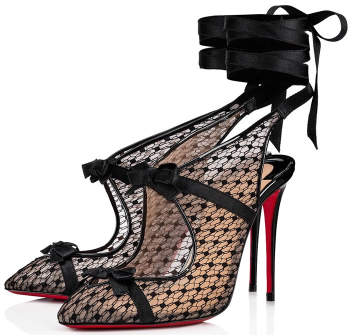 The pointy-toe pump covered in Rete and Spider fishnet recalls fine lingerie and 1930's-era cabaret