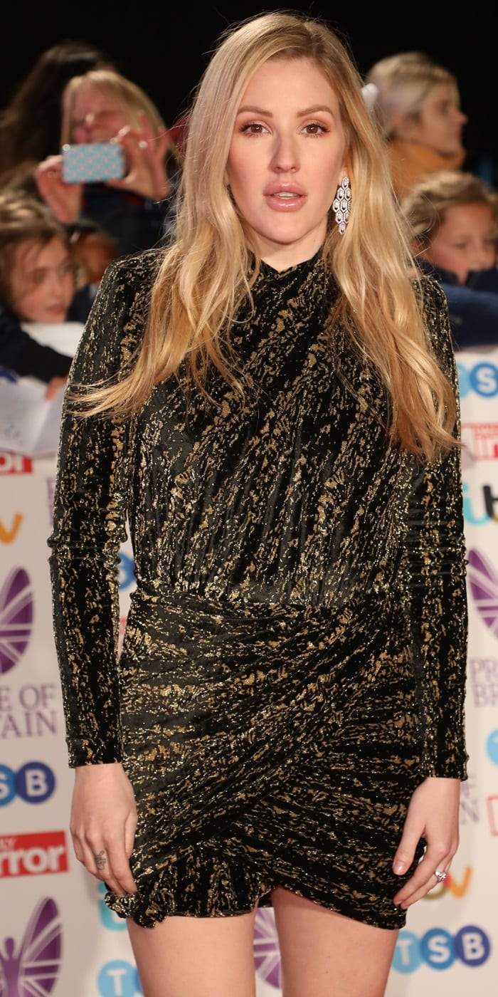 Ellie Goulding's black and gold mini dress at the Pride of Britain Awards 2018