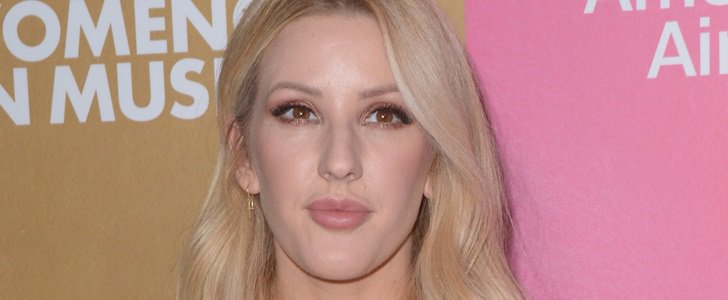 Ellie Goulding's Pink Silk Gathered Knot Dress and Lime Green Shoes