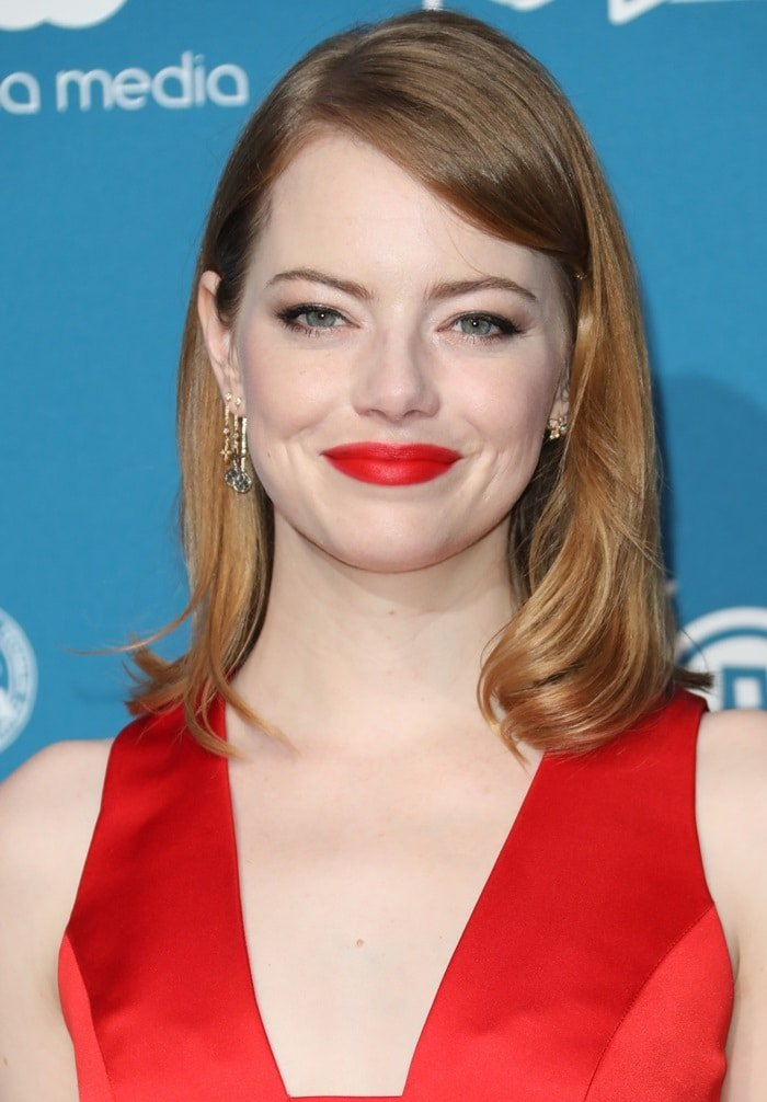 Emma Stone's pillar box red lips at the 2018 British Independent Film Awards (aka the BIFAs) at Old Billingsgate in London, England, on December 2, 2018
