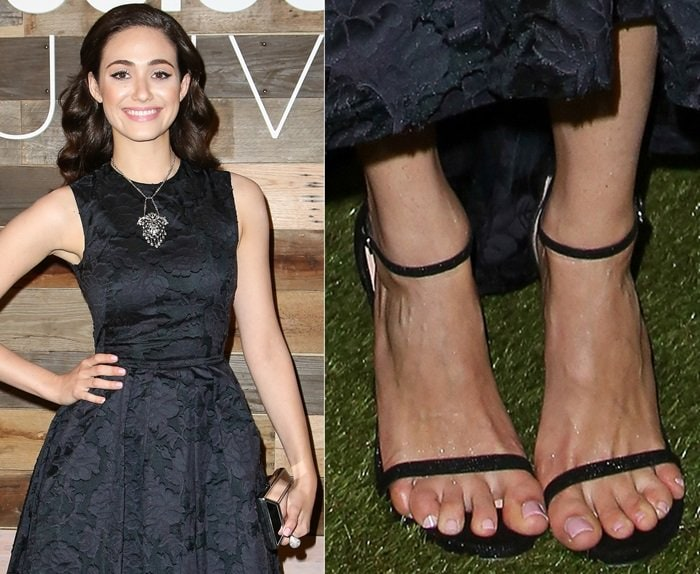 Actress Emmy Rossum showed off her peanut toes at the H&M Conscious Exclusive Dinner at Eveleigh on March 19, 2014, in West Hollywood, California