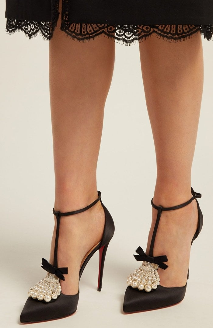 These pumps have T-bar straps topped with faux pearls, crystals and bows