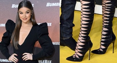 59277061c19c Hailee Steinfeld s Sexy Brian Atwood Georgia Vic Boots Look Like Tights