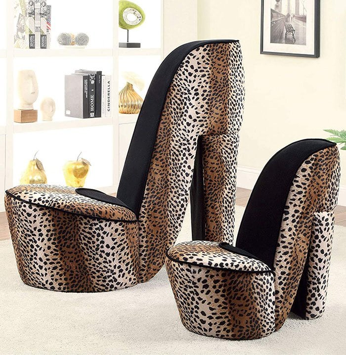 Leopard Stiletto Style Accent Chairs