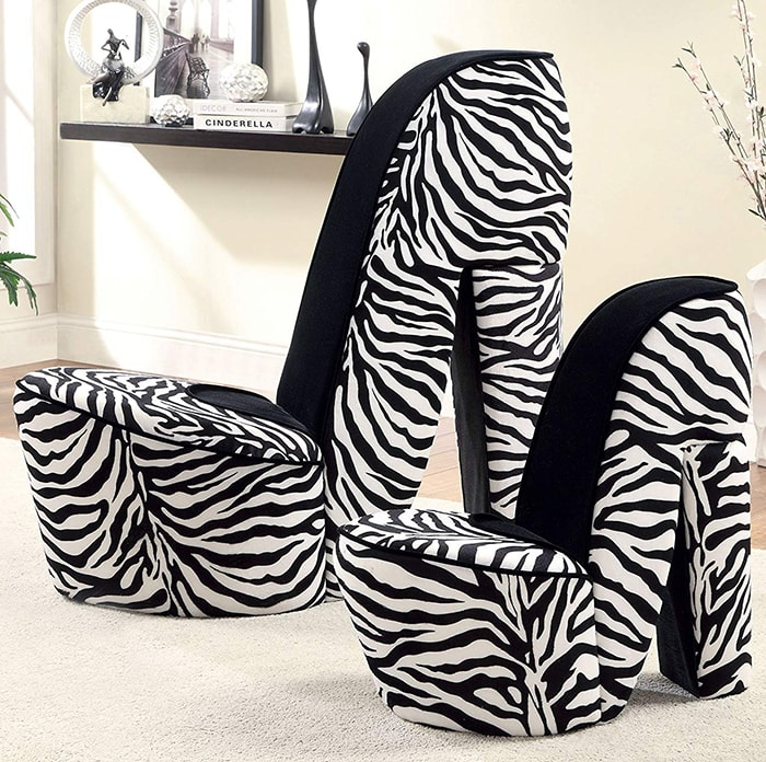 Zebra Stiletto Style Accent Chairs