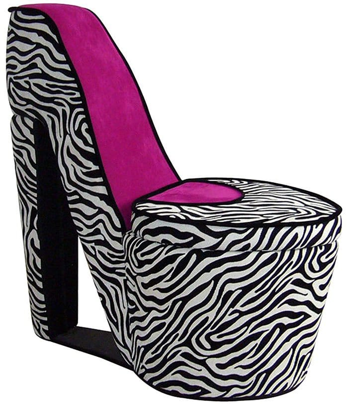 Pink Zebra High Heel Shoe Chair