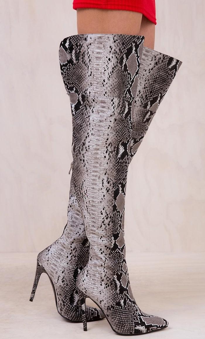 Snakeskin Print Viper Thigh High Boots