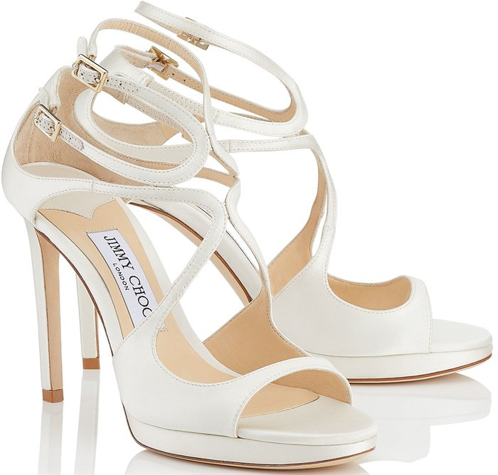 Ivory Satin Strappy Sandals