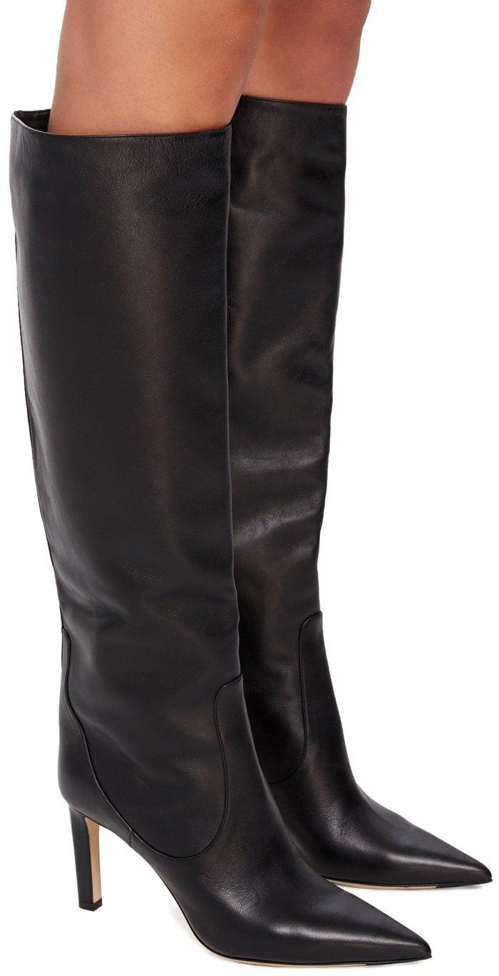 Black Smooth Leather Knee High Mavis Boots