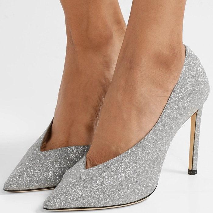 JIMMY CHOO Sophia Silver Fine Glitter Leather Pointy Toe Pumps