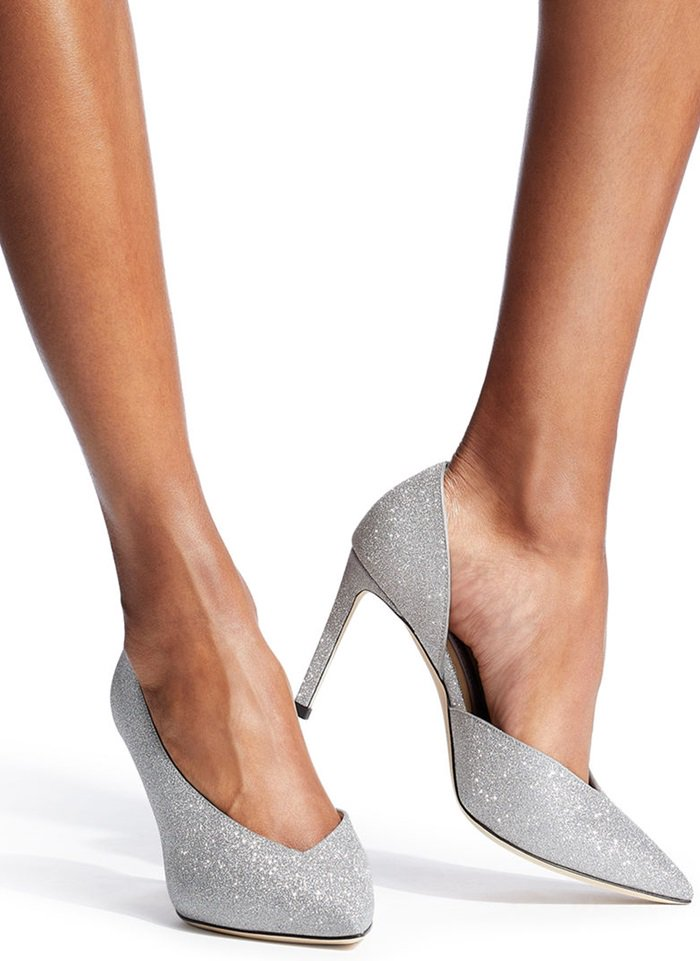 Point toe glitter pumps with side cutout detail