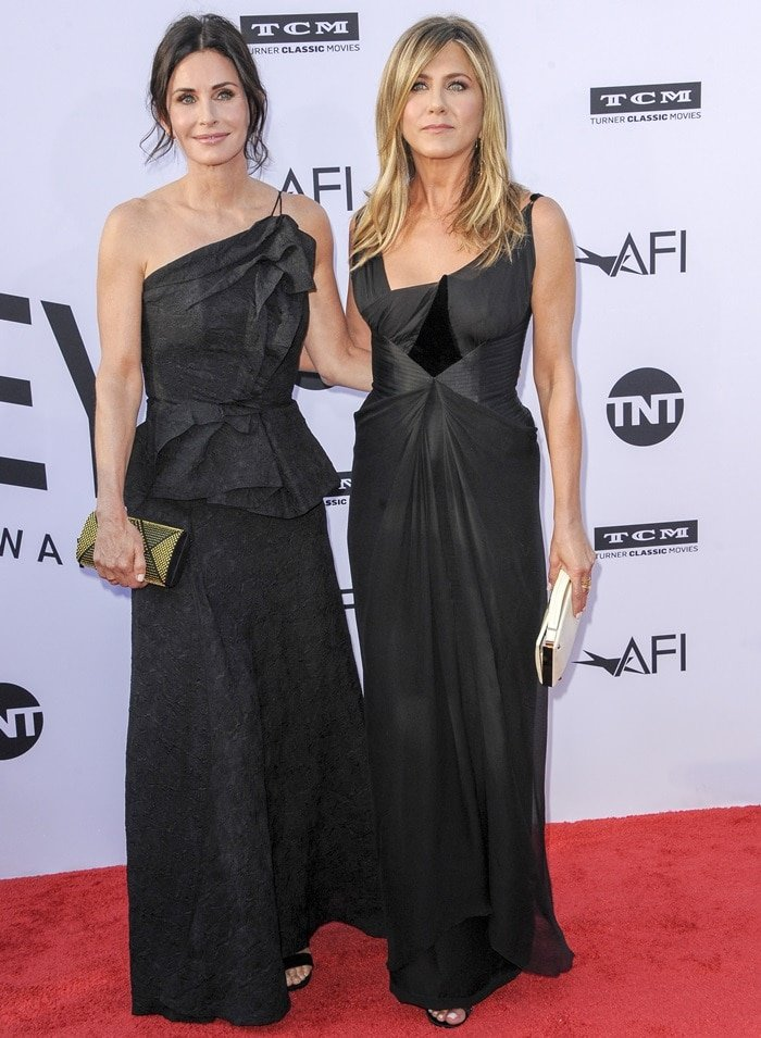 Jennifer Aniston and Courteney Cox at the American Film Institute's 2018 Life Achievement Award Gala Tribute at the Dolby Theatre in Hollywood on June 7, 2018