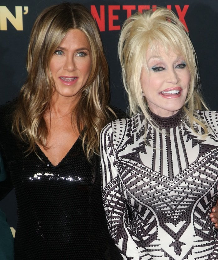 Jennifer Aniston was joined by Dolly Parton,who contributed original songs to the movie