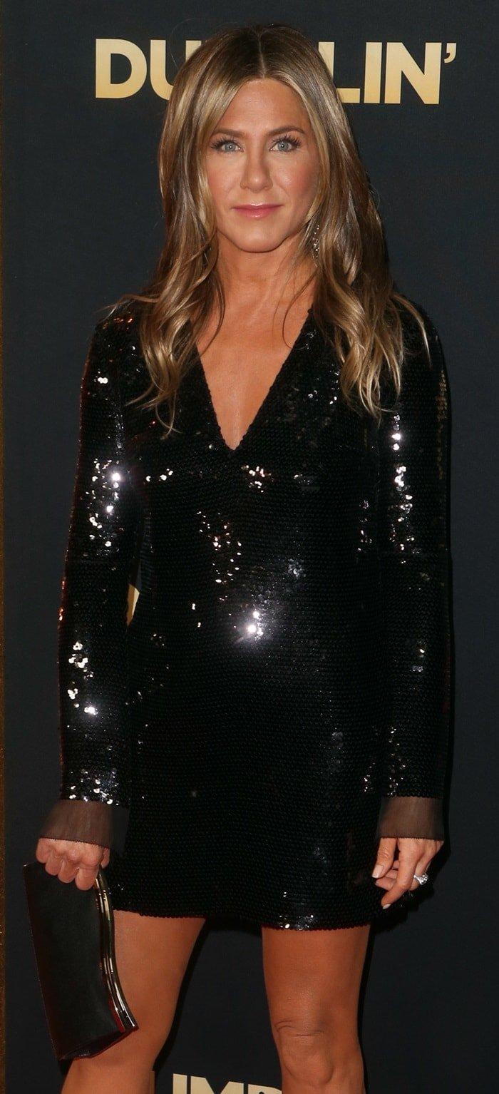 Jennifer Aniston's sequin-embroidered chiffon shift dress byStella McCartney