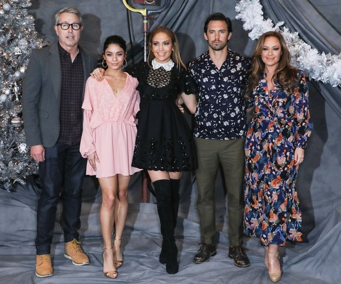 Peter Segal, Vanessa Hudgens, Jennifer Lopez, Milo Ventimiglia, Leah Remini at the Second Act photocall at the Four Seasons Hotel in Beverly Hills, California, on December 9, 2018