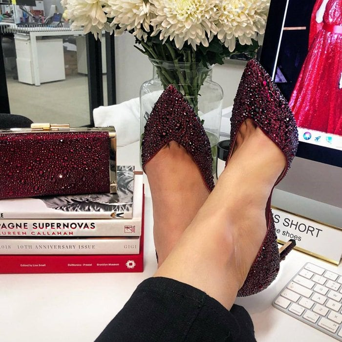 The glamorous Sophia pump and Jbox clutch in red crystals are only available at Printemps