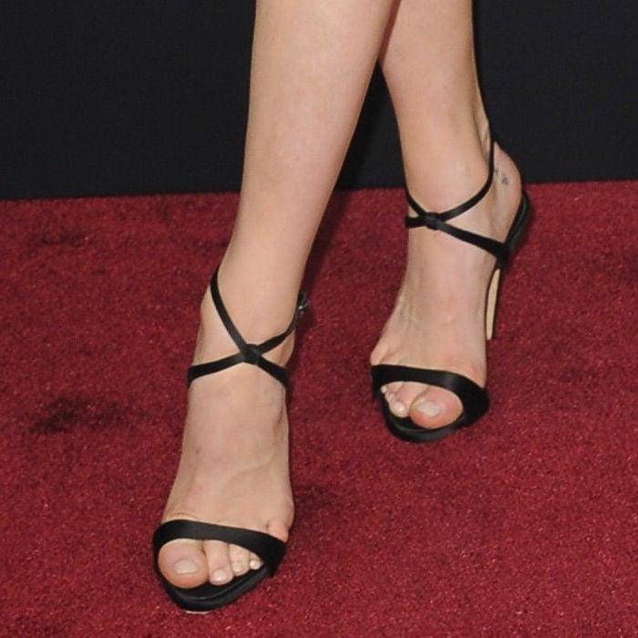 Katherine McNamara's sexy nude feet inGiuseppe Zanotti's crystal-embellished Dionne sandals