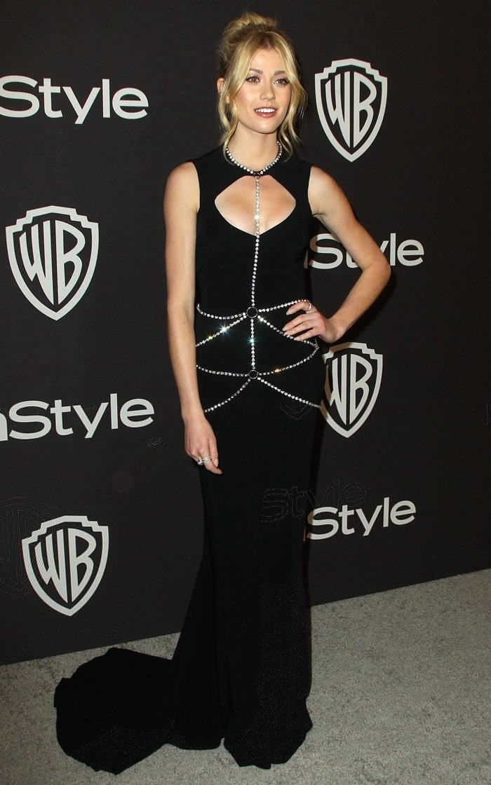 Katherine McNamara in a black DSquared2 dress at the InStyle And Warner Bros. Golden Globes After Party held at The Beverly Hilton Hotel in Beverly Hills, California, on January 6, 2019