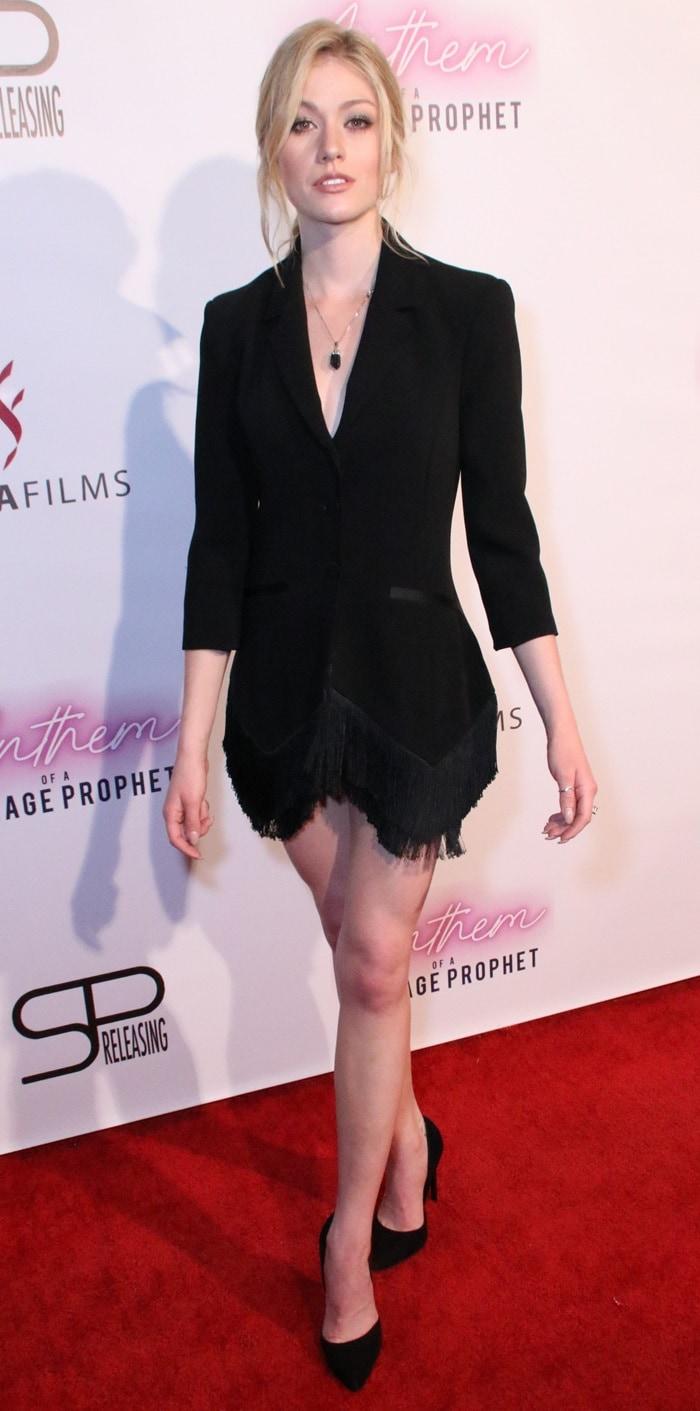 "Katherine McNamara's nude legs in a Cinq à Sept ""Violetta"" crepe blazer"