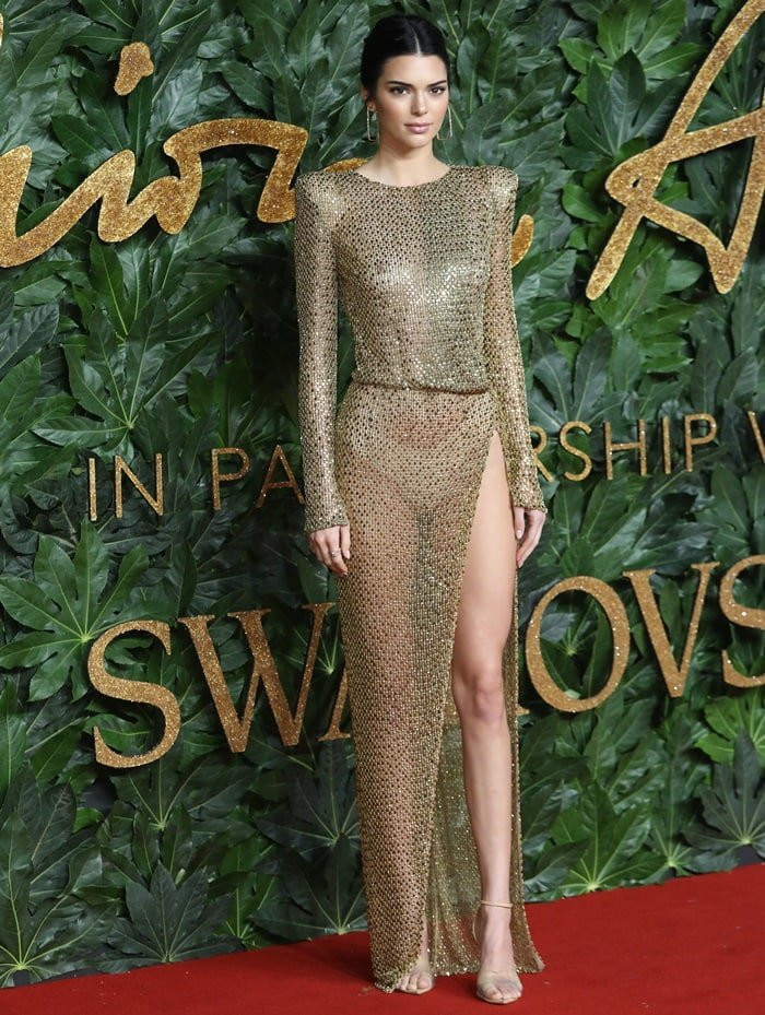 Kendall Jenner wearing a skimpy nude thong at the British Fashion Awards 2018 in Partnership with Swarovski at the historic Royal Albert Hall in Kensington, London, on December 10, 2018